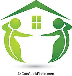 dom, ekologiczny, z, liście, logo