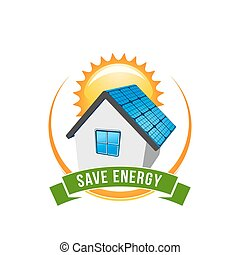 dom, energia, wektor, zielony, słoneczny, oprócz, ikona