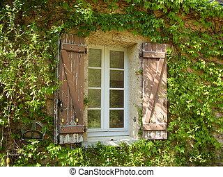 dom farmera, okno, francuski, żaluzje, &