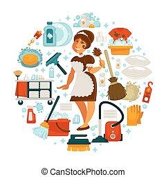 dom, gospodyni, czyszczenie, wektor, czysty, pokojówka, dom,...