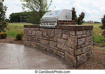 dom, grill, tennesee, budowany, podwórze