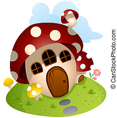 dom, grzyb