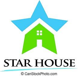 dom, gwiazda, nagroda, ilustracja, logo