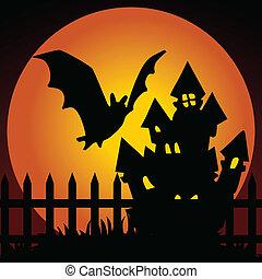 dom, halloween, nawiedzany, noc
