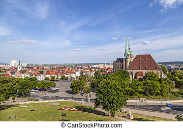 Dom hill of Erfurt Germany in afternoon light