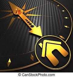 dom, ikona, compass., złoty