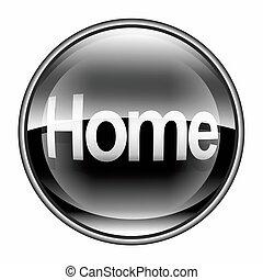 dom, ikona, czarnoskóry, odizolowany, na białym, tło