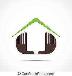 dom, ikona, projektować, ręka