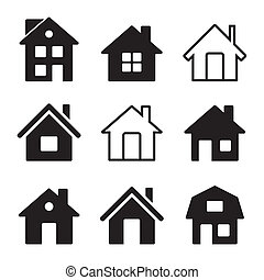 dom, ikony, komplet, na białym