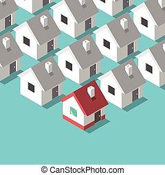 dom, isometric, pojęcie, domy