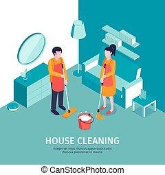 dom, isometric, tło, czyszczenie