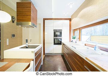 dom, jasny, nowoczesny, kuchnia
