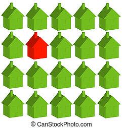 dom, jeden, zielony, dużo, czerwony