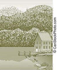 dom, jezioro, drzeworyt