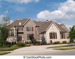 dom, kamień, cegła, historia, dwa