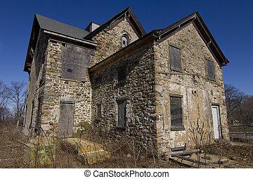 dom, kamień, opuszczony