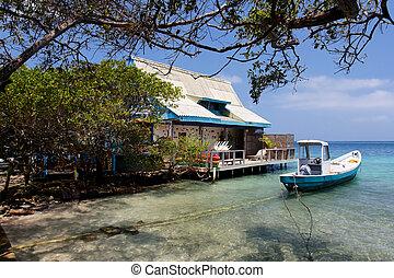 dom, karaibski, łódka