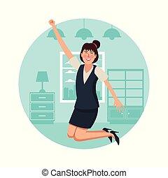dom, kobieta handlowa, szczęśliwy