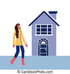 dom, kobieta, zima, śnieg, słuchawki
