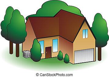 dom, kondycjonując, powietrze