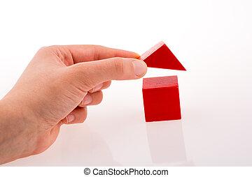 dom, kostki, ręka, zrobienie