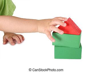 dom, kostki, zabawka dzieci, ręka