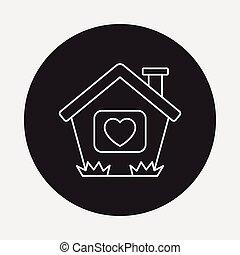 dom, kreska, miłość, ikona