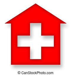 dom, krzyż, czerwony