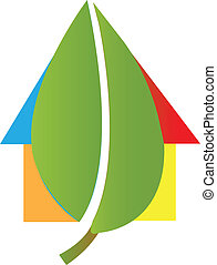 dom, liść, logo, wektor, ilustracja