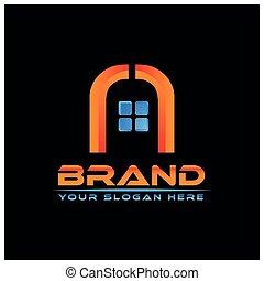dom, logo, wektor, na, czarnoskóry, tło., abstrakcyjny, dom
