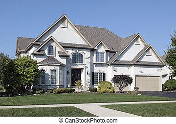 dom, luksus, potrójny, garaż