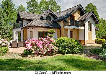 dom, luksusowy, przedmieścia