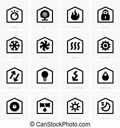 dom, mądry, ikony