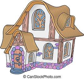 dom, mały, fairytale