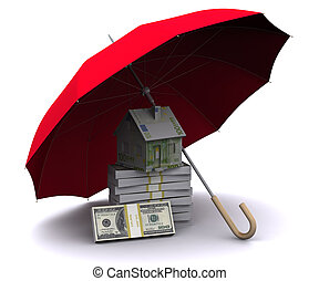 dom, mały, parasol