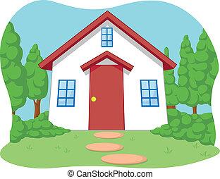 dom, mały, rysunek, sprytny