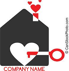 dom, -, miłość, logo