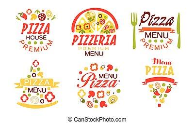 dom, mocny, etykiety, menu, wektor, jadło, zbiór, symbole, kawiarnia, ilustracja, pizza, jasny, restauracja