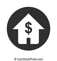 dom, monochromia, dolar, okrągły, ikona