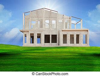 dom, na dół, zbudować, pukać, ułożyć
