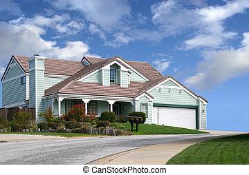 dom, na, przedimek określony przed rzeczownikami, pagórek
