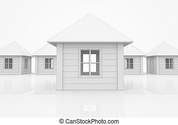 dom, na, ulica, w, biały