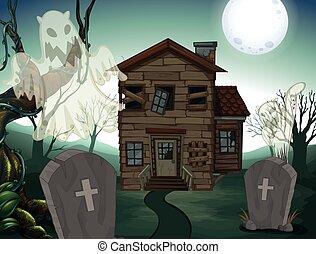 dom, nawiedzany, cmentarz, noc