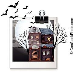 dom, nawiedzany, fotografia, noc