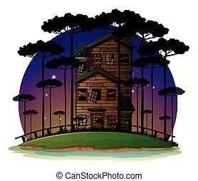 dom, nawiedzany, scena, noc