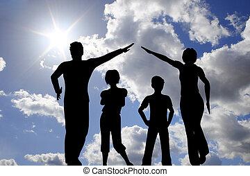 dom, niebo, rodzina