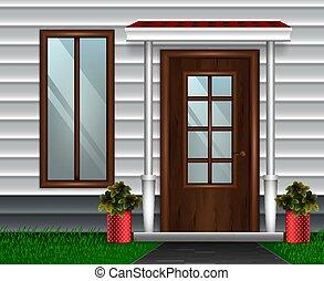 dom, nowoczesny, drzwi, skład