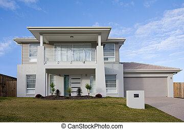 dom, nowoczesny, dwa piętra, balkon