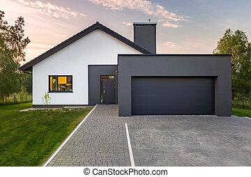 dom, nowoczesny, garaż