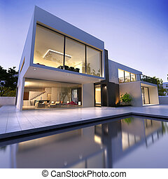 dom, nowoczesny, kałuża
